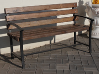 Скамейка «Садовая» со спинкой с подлокотниками - 1,8 м.